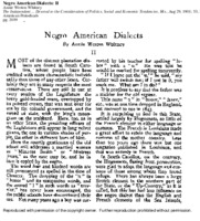 Negro American Dialects, Part II