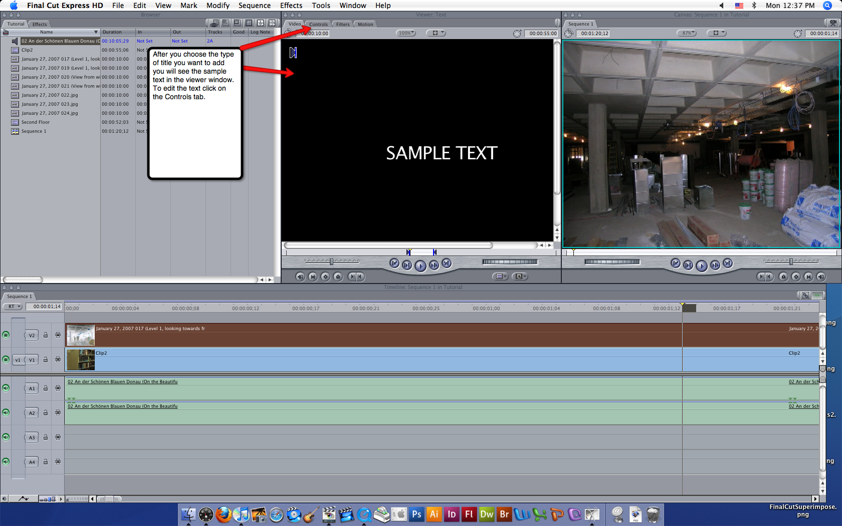 Visual guide to adding titles in Final Cut Express HD step 2.