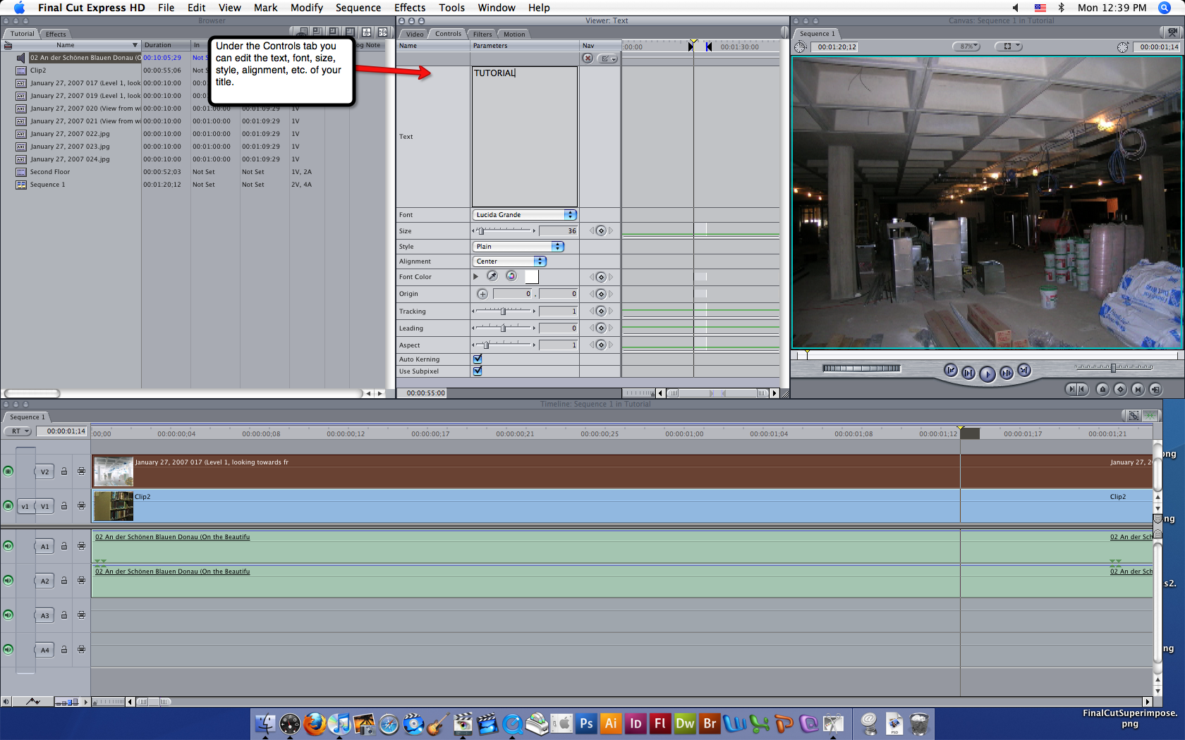 Visual guide to adding titles in Final Cut Express HD step 3.
