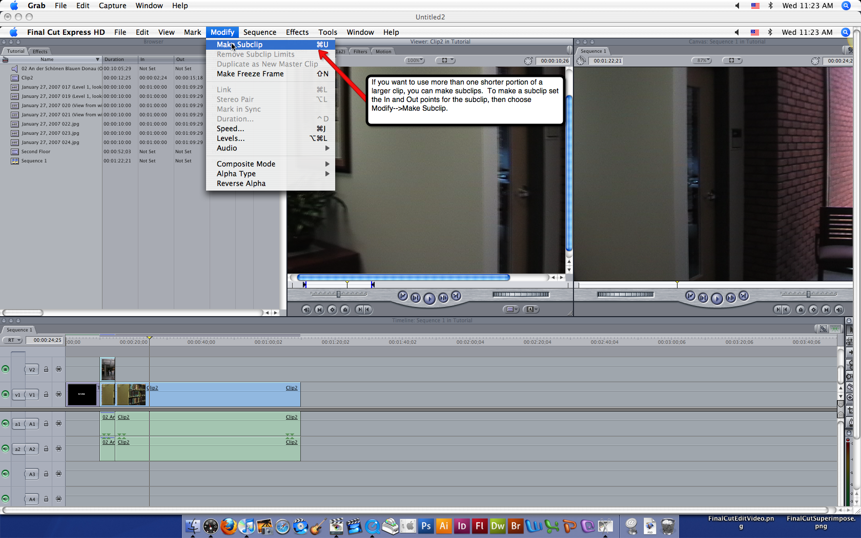 Visual guide to editing video in Final Cut Express HD step 2.