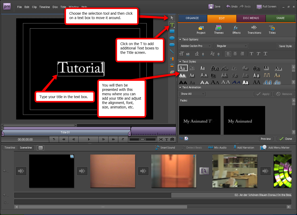 Adding titles in adobe premiere elements 10 visual guide to adding titles in adobe premiere elements 7 step 3 ccuart Choice Image