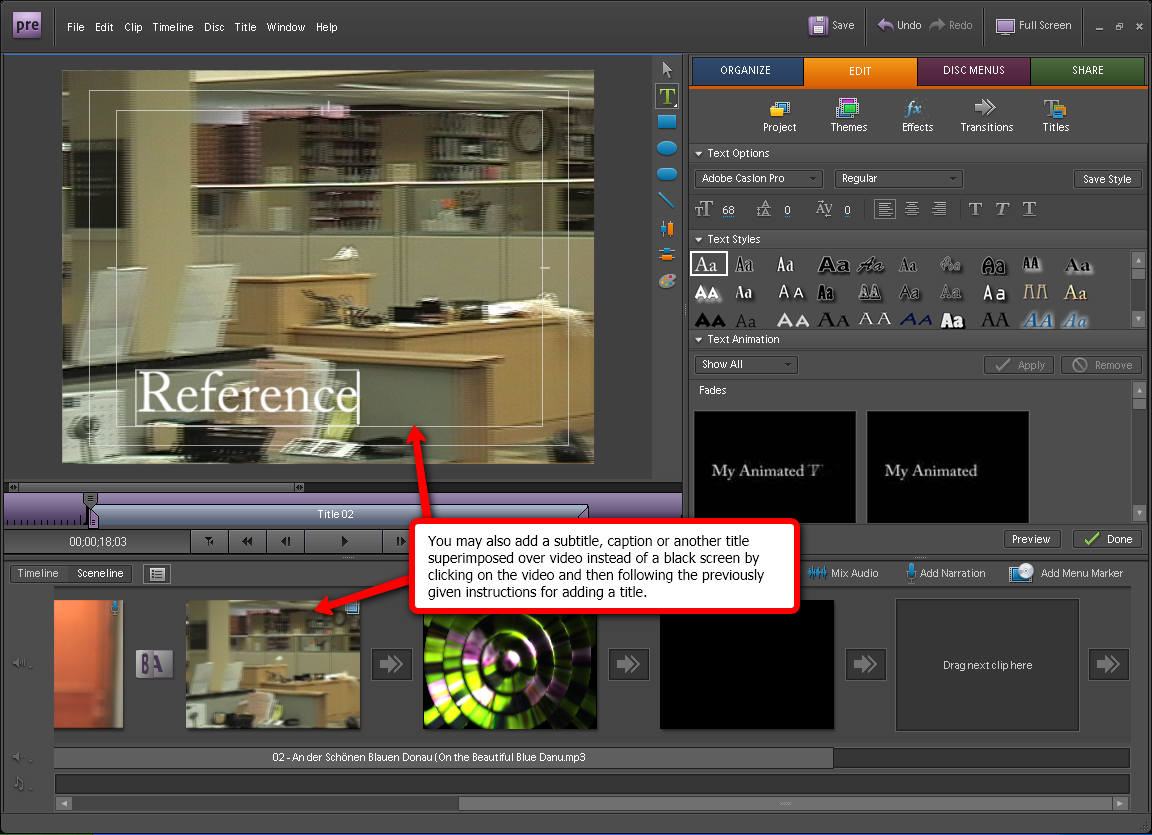 Adding titles in adobe premiere elements 10 visual guide to adding titles in adobe premiere elements 7 step 4 ccuart Image collections